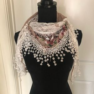Crochet and floral fashion scarf